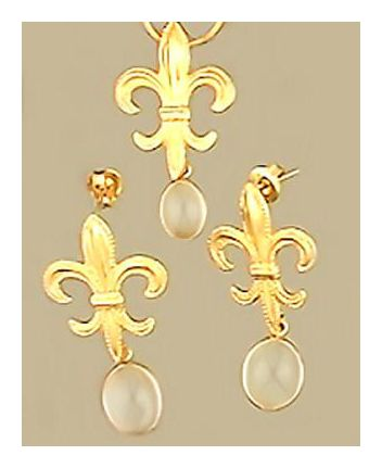 Set of Fleur-De-Lys Moonstone Earrings & Necklace