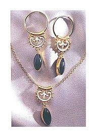 Set of Umbria Onyx Earrings & Necklace