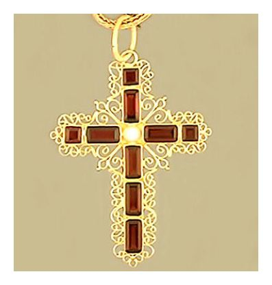 Florentine Garnet Cross Necklace