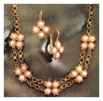 Josephine Pearl Earrings and Necklace Set