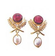 Pax Victoriana Garnet Cultured Pearl Earrings