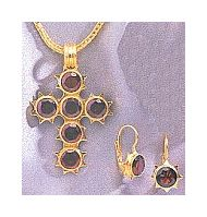 Set of St. Augustine Garnet Earrings and Cross Necklace