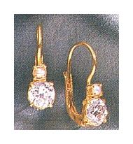 Paris Exhibition Cubic Zirconia, Pearl Earrings