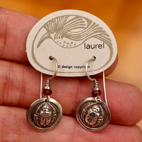 Vintage Laurel Burch Scarab Silver Plate Earrings
