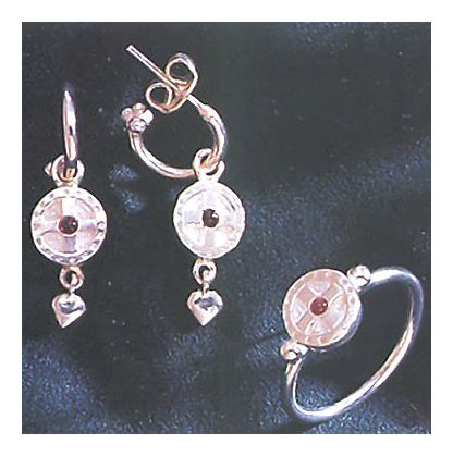 Set of St. Augustine Silver Cross Earrings & Ring