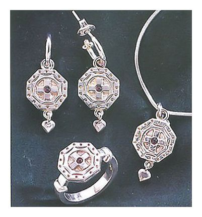 Set of Canterbury Silver Cross Earrings, Necklace, & Ring