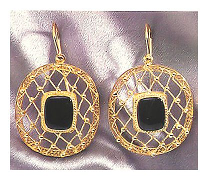 Heavenly Web Onyx Earrings