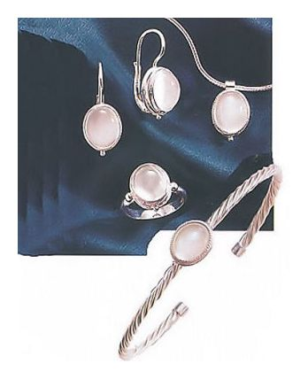 Set of Silver Moonstone Earrings, Necklace, Ring and Bracelet