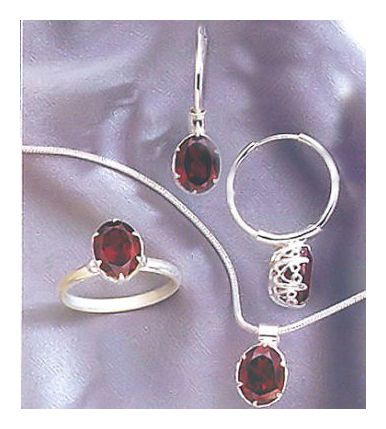 Set of Gwyneth Garnet Earrings, Necklace and Ring