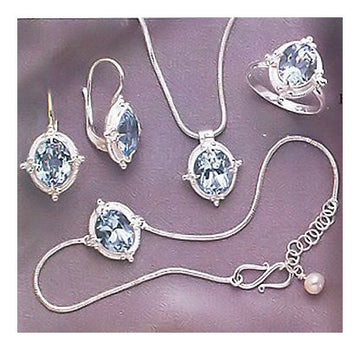 Set of Cinderella Blue Topaz Earrings, Necklace, Ring and Bracelet
