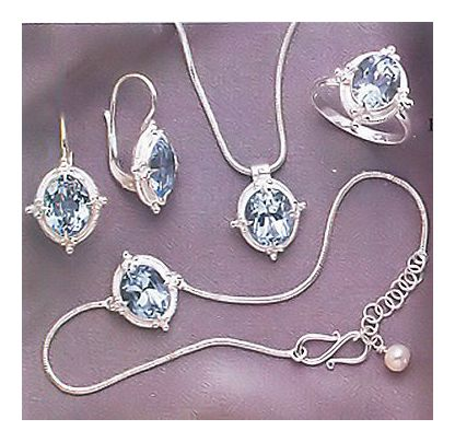 Set of Cinderella Blue Topaz Earrings, Necklace, Ring, & Bracelet