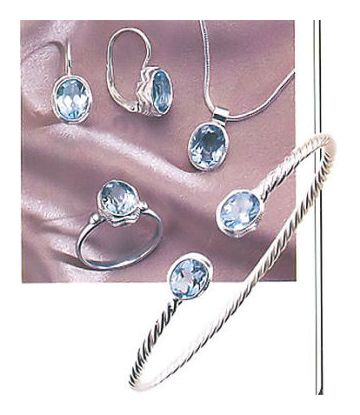 Set of Sea Of Marmara Blue Topaz Earrings, Necklace, Ring and Bracelet