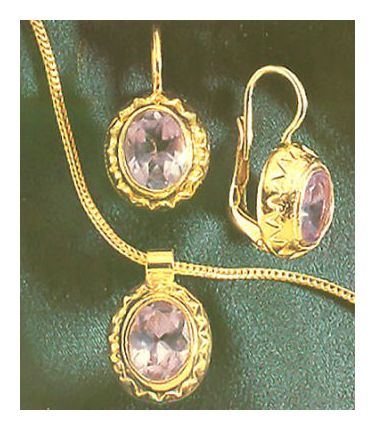 Set of Yvette Guilbert Amethyst Earrings & Necklace