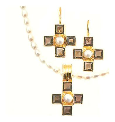 Set of Canterbury Smoky Topaz Earrings and Necklace