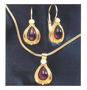 Set of Garnet Lamplight Earrings and Necklace