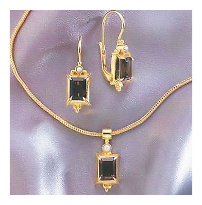 Set of House Of Anjou Smoky Topaz Earrings and Necklace