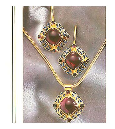 Set of Heloise Garnet Earrings & Necklace