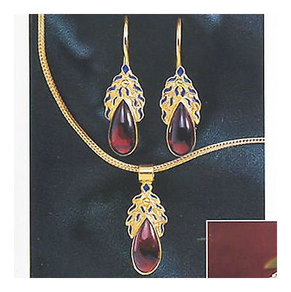 Set of Garnet Frond Earrings and Necklace