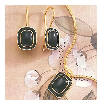 Set of Mary Shelley Onyx Earrings & Necklace