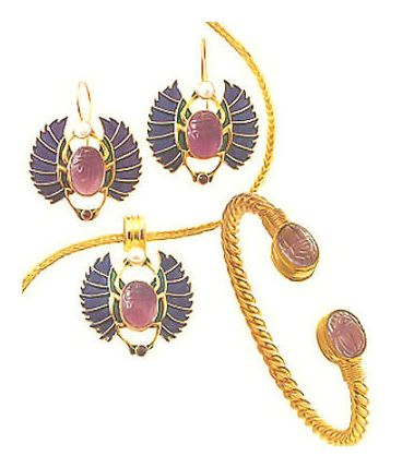 Set of Farafra Scarab Earrings, Necklace & Bracelet
