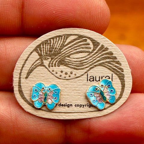 Vintage Laurel Burch Baby Blue Butterfly Gold-Vermeil Studs
