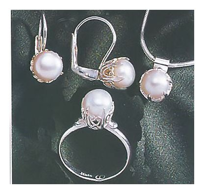 Set of Plymouth Pearl Earrings, Necklace and Ring