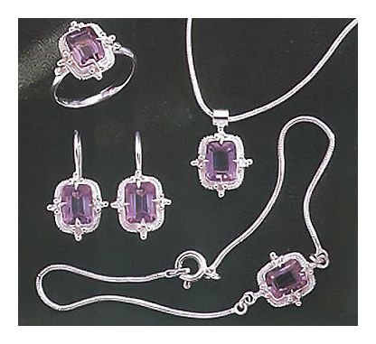 Set of Amy Amiable Amethyst Earrings, Necklace, & Ring