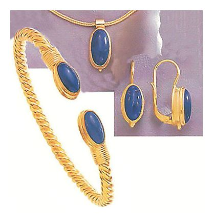 Set of Lapis Cricket Earrings & Ring