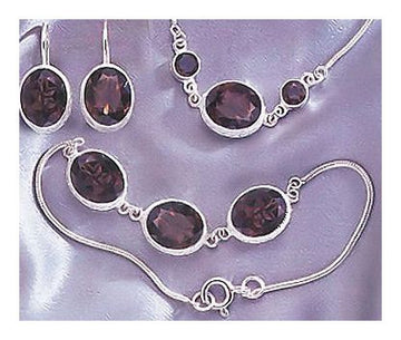 Set of Felicity Fairchild Smoky Earrings, Necklace and Bracelet