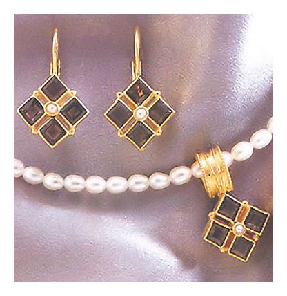 Set of Isadora Smoky Topaz & Pearl Earrings & Necklace