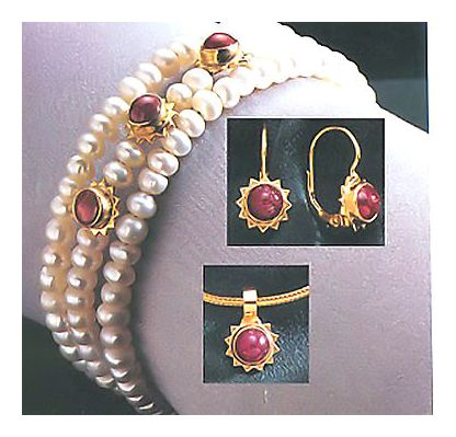 Set of Ruby Rapture Earrings, Necklace, & Bracelet