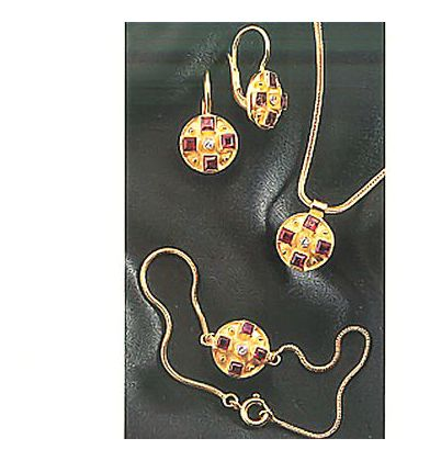 Set of St. Albans Earrings, Necklace and Bracelet