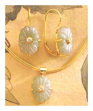 Set of Aegean Aventurine Earrings and Necklace