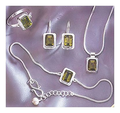 Set of Rapunzel Peridot Earrings, Necklace, & Ring