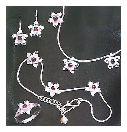Set of Garnet Garden Earrings, Necklace, Ring, & Bracelet