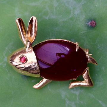 Carnelian Peter Rabbit Pin