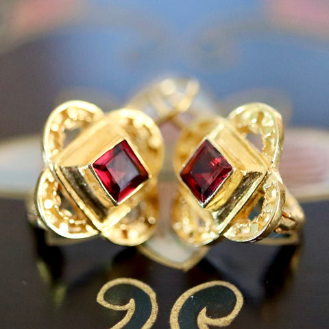 Byzantine Earrings: Garnet and 14k Gold