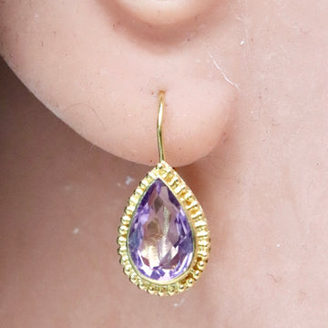14k Teardrop Amethyst Earrings