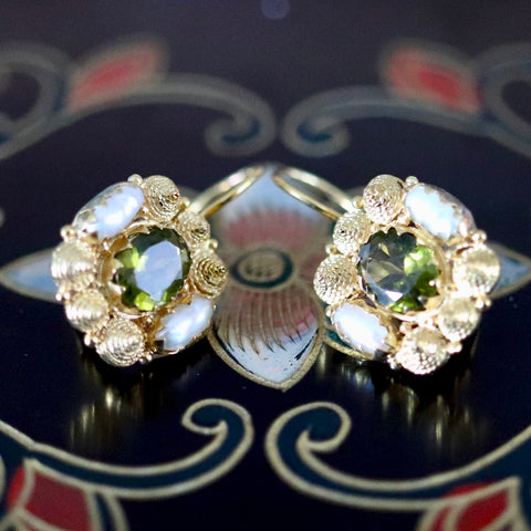 Jane Austen Earrings: Peridot, Pearls and 14k Gold