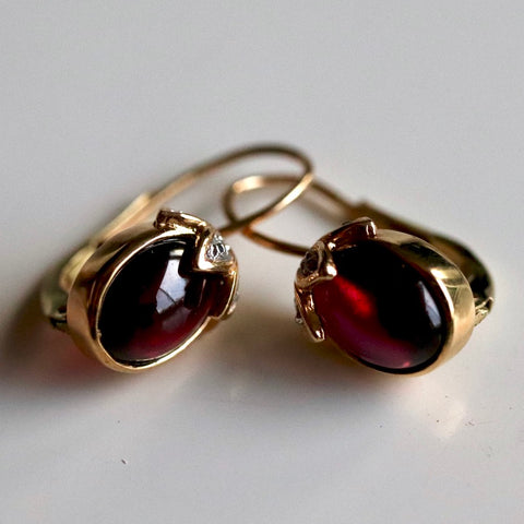 Jane Seymour Earrings: Cabochon Garnet, Diamonds & 14k Gold