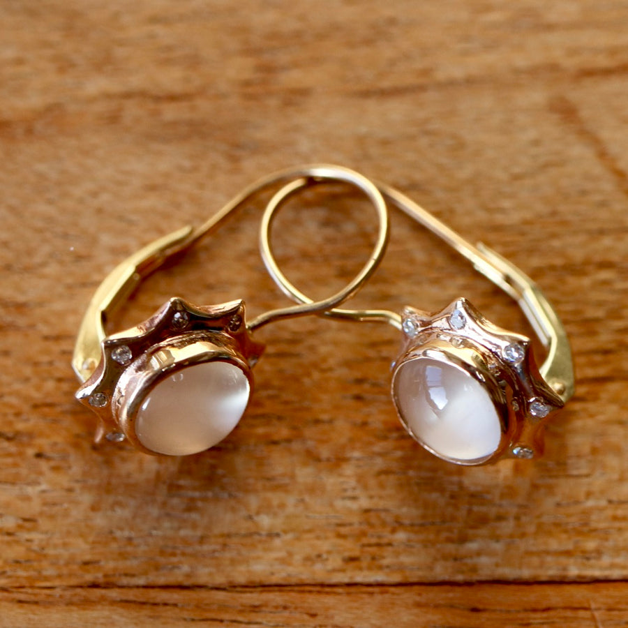 Sun and Moon 14k Gold, Moonstone and Diamond Earrings
