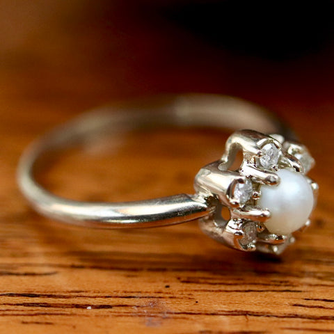 Pearl & Diamond Flower Ring
