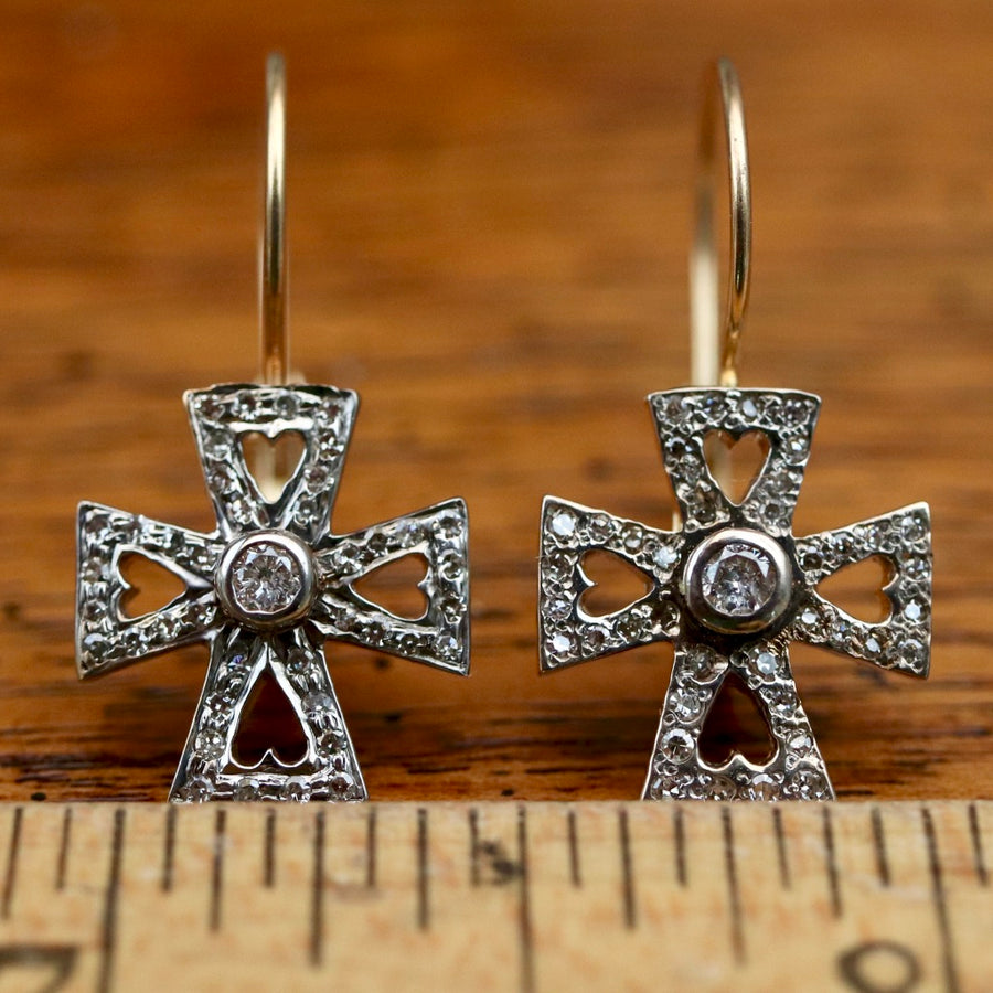 Eleanor of Aquitaine 14k Gold and Diamond Earrings