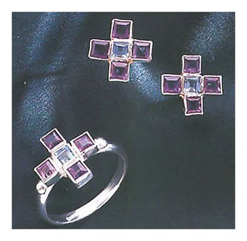 Set of Notre Dame Amethyst and Blue Topaz Earrings and Ring