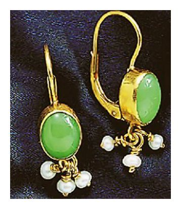 Tarantella Chrysoprase and Pearl Earrings