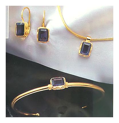 Set of Iolanthe Iolite Earrings, Necklace, & Bracelet