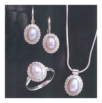 Set of Penelope Pureheart Pearl Earrings, Necklace and Ring
