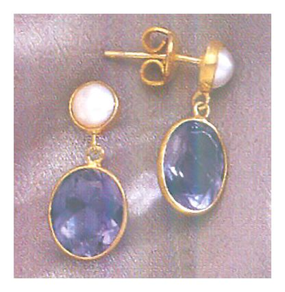 Marmara Iolite & Pearl Earrings