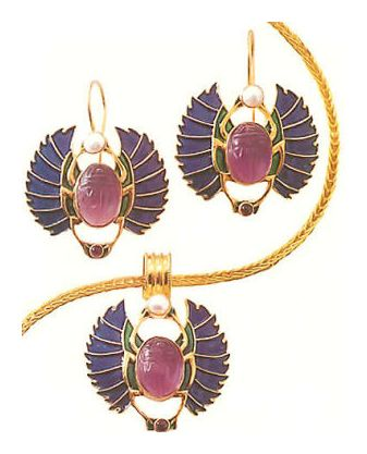 Set of Farafra Scarab Earrings & Necklace
