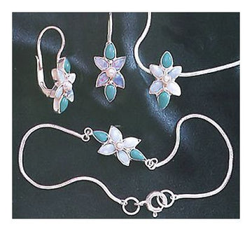 Set of Flora Turquoise, Opal and Pearl Earrings, Necklace, Bracelet